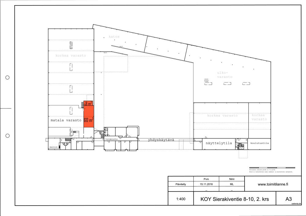 Toimitilanne Suomi, Espoo - Kauklahti, Sierakiventie 8-10, Varastotila 68 m²