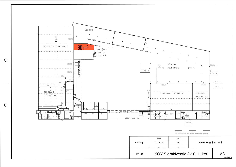 Toimitilanne Suomi, Espoo - Kauklahti, Sierakiventie 8-10, Ulkovarastotila 60 m²