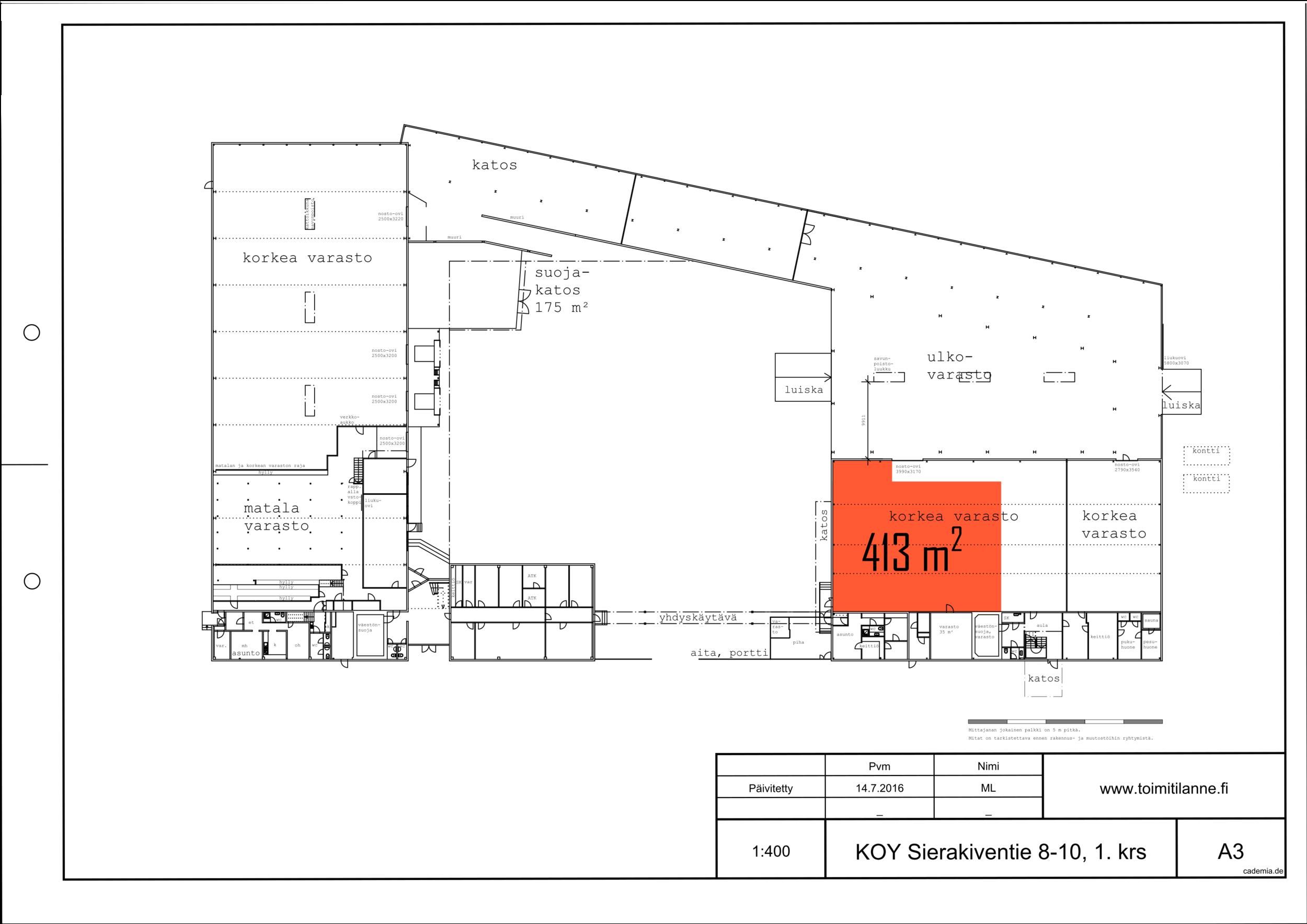 Toimitilanne Suomi, Espoo - Kauklahti, Sierakiventie 8-10, Varastotila 413 m²