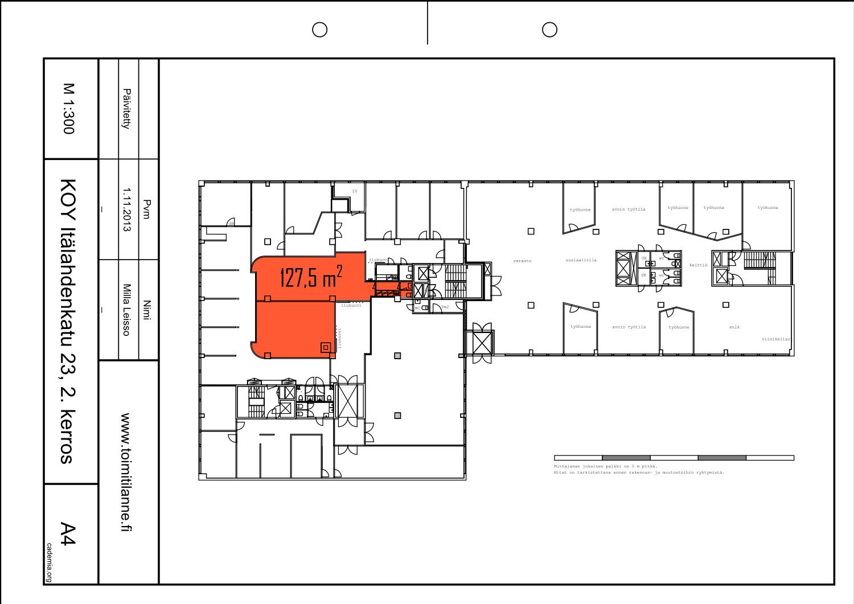 Toimitilanne Suomi, Helsinki - Lauttasaari, Itälahdenkatu 23. Varastotila 127,5 m²