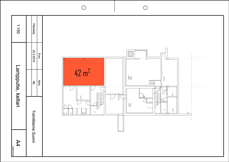 Toimitilanne Suomi, Helsinki - Suutarila, Lampputie 1. Varastotila 42 m², pohjapiirros.