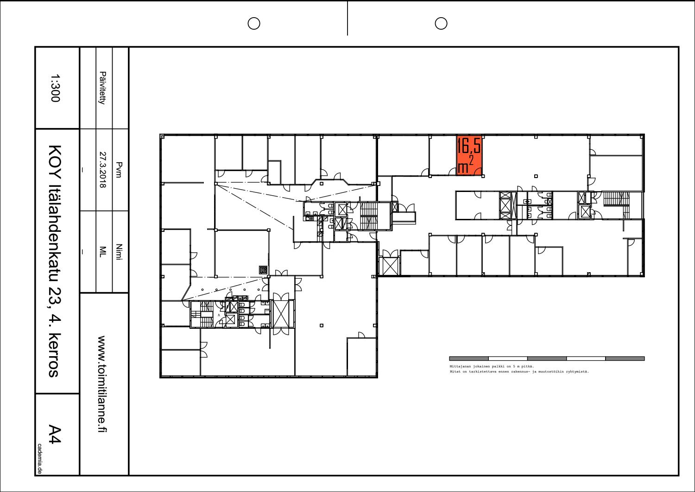 Toimitilanne Suomi, Helsinki - Lauttasaari, Itälahdenkatu 23, Toimisto- tai varastohuone 16,5 m². Pohjapiirros.