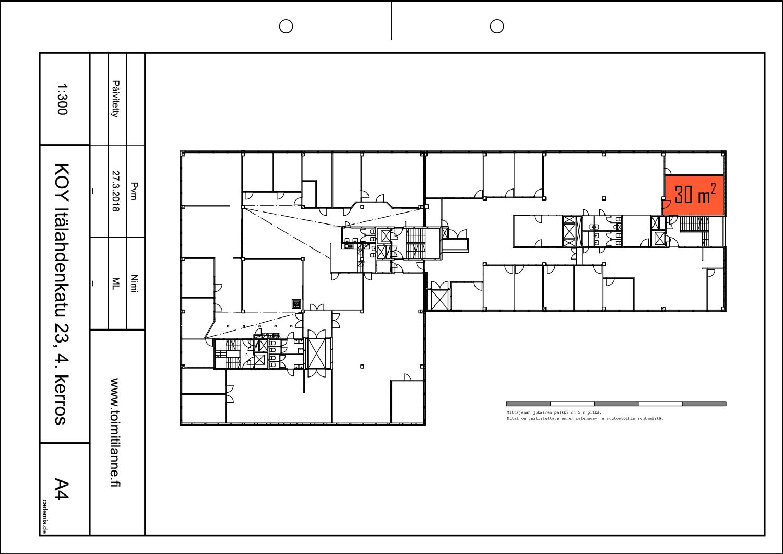 Toimitilanne Suomi, Helsinki - Lauttasaari, Itälahdenkatu 23, varastohuone 30 m². Pohjapiirros.