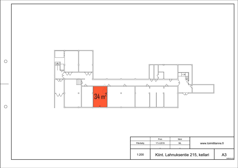 Pohjapiirros. Toimitilanne Suomi, Nurmijärvi - Klaukkala, Lahnuksentie 215. Varastohuone 34 m².