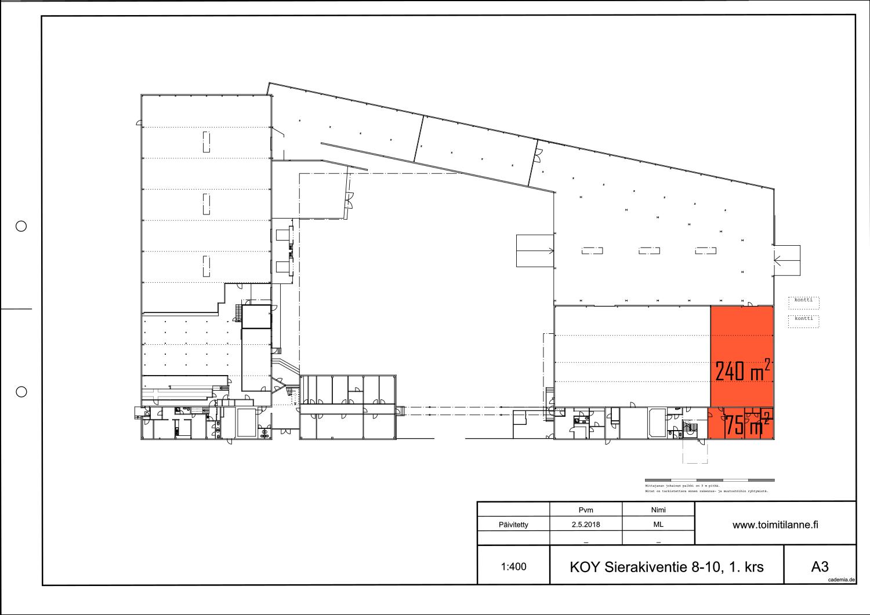 Toimitilanne Suomi, Espoo - Kauklahti, Sierakiventie 8-10, Varastotila 240 m² ja sosiaalitilat 75 m². Pohjapiirros.