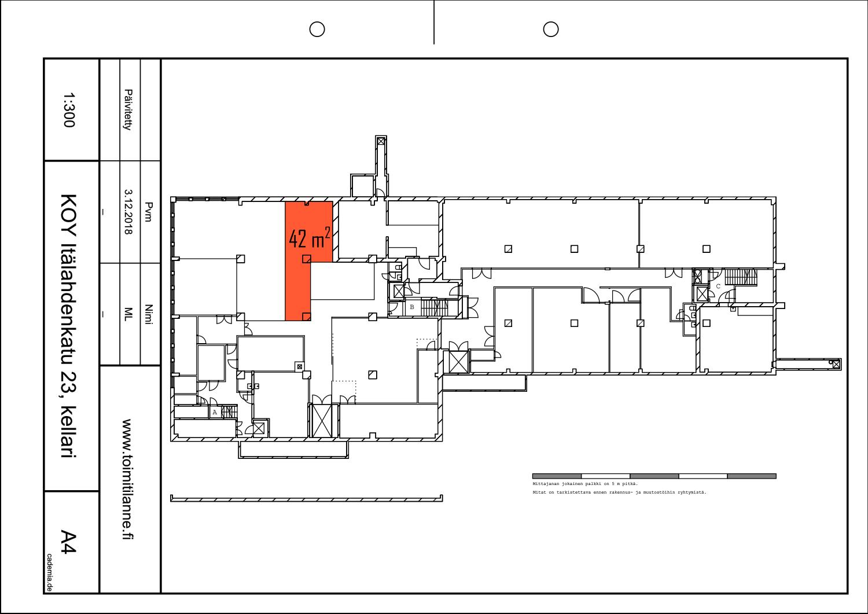 Toimitilanne Suomi, Helsinki - Lauttasaari, Itälahdenkatu 23. Varastohuone 42 m²