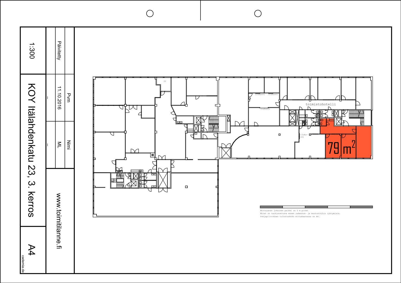 Toimitilanne Suomi, Helsinki - Lauttasaari, Itälahdenkatu 23, Toimistotila 79 m², pohjapiirros
