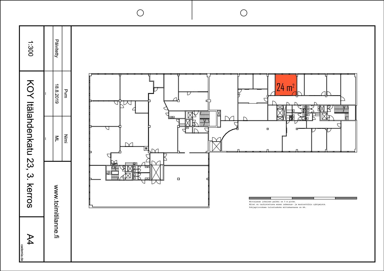 Toimitilanne Suomi, Helsinki - Lauttasaari, Itälahdenkatu 23, Toimistohuone 24 m²