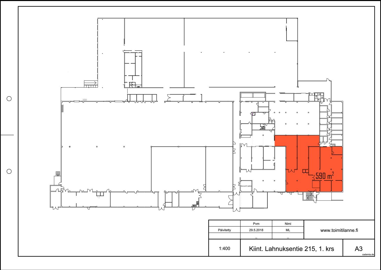 Toimitilanne Suomi, Nurmijärvi - Klaukkala, Lahnuksentie 215. Tuotanto- tai varastotila 590 m², pohjapiirros.