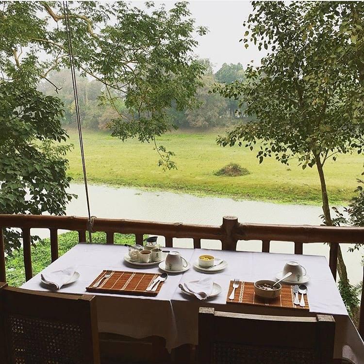 Breakfast overlooking the Diphlu river
