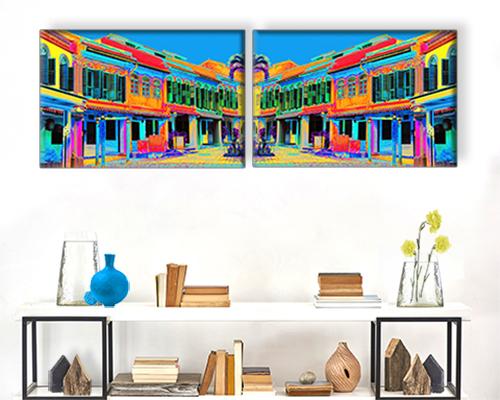 LInda Preece Shophouse Reflections Purple Art Photogrpahy