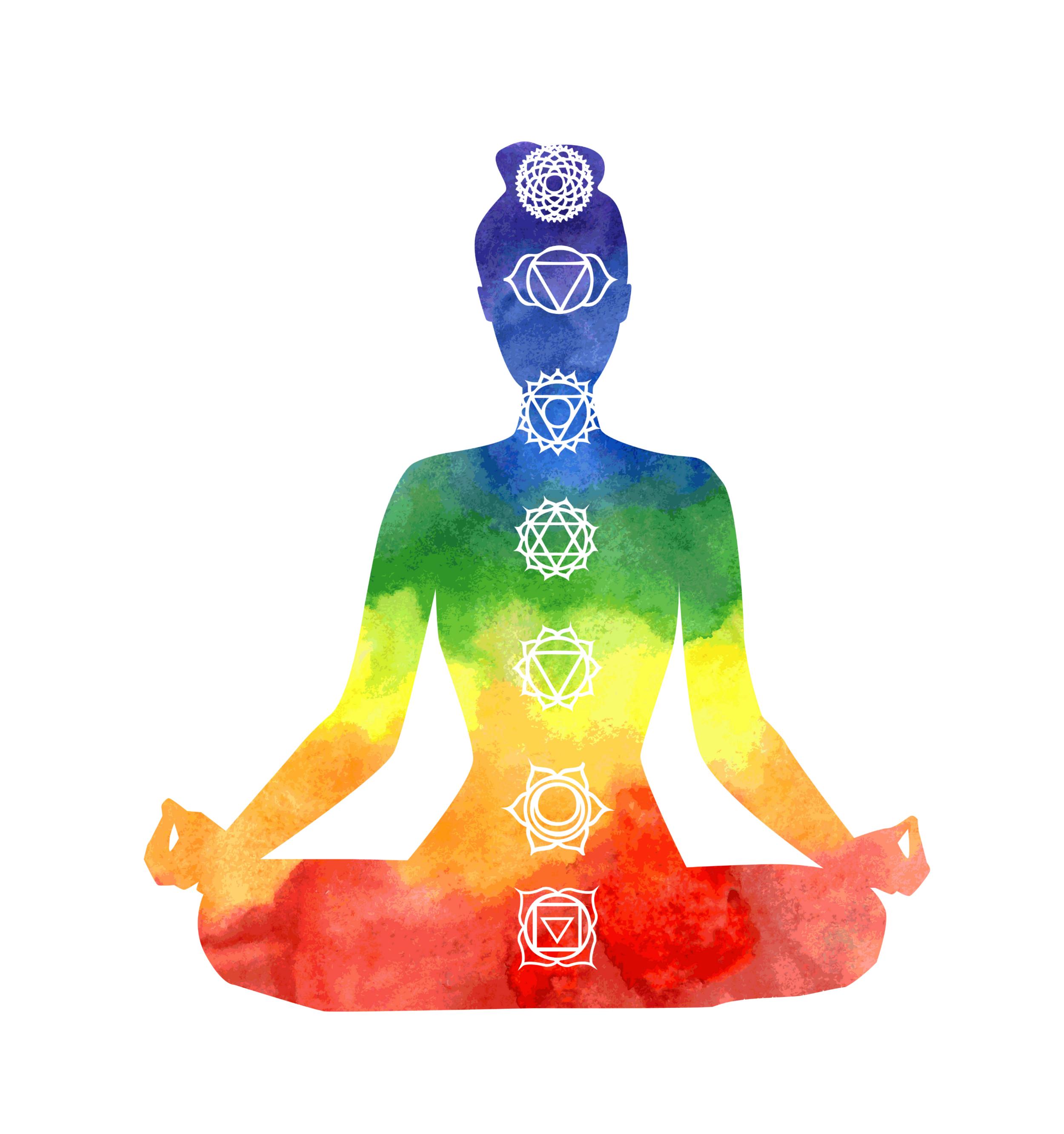The 7 chakra energy centers.