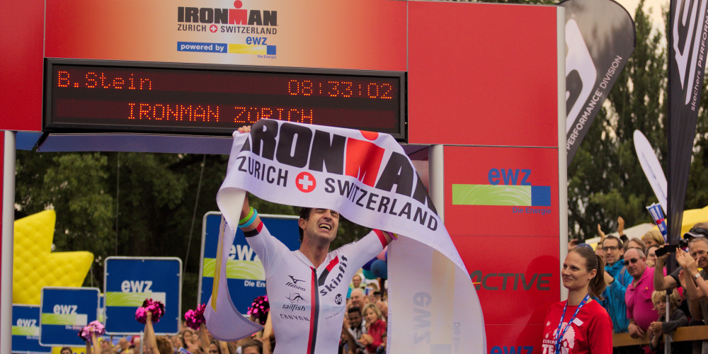 Boris Stein, from Germany, won the Ironman Zurich 2014 under nine hours. Seen here moments before collapsing on the side.