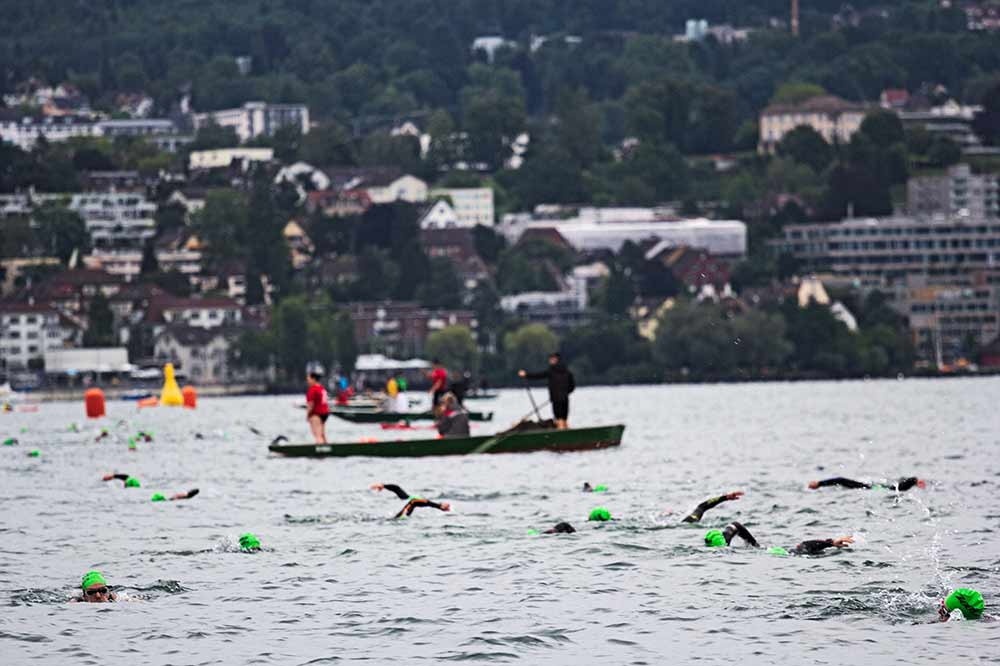 The swimming leg of the race.