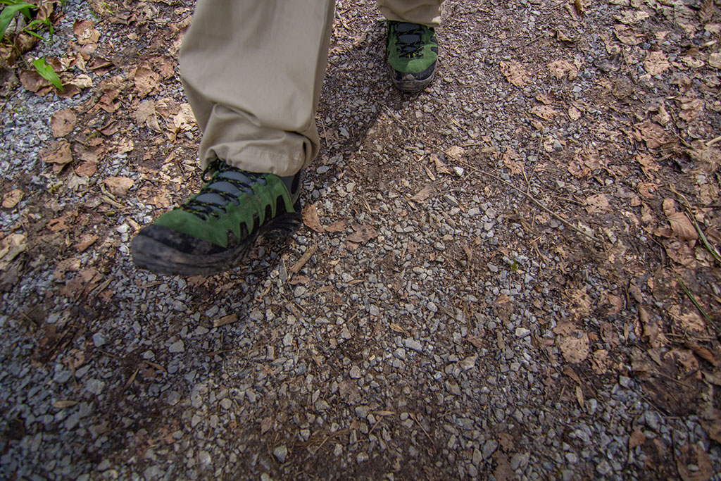Walking through a forest after an accidental splash in a muddy pool. Zero water permeated inside the shoe.