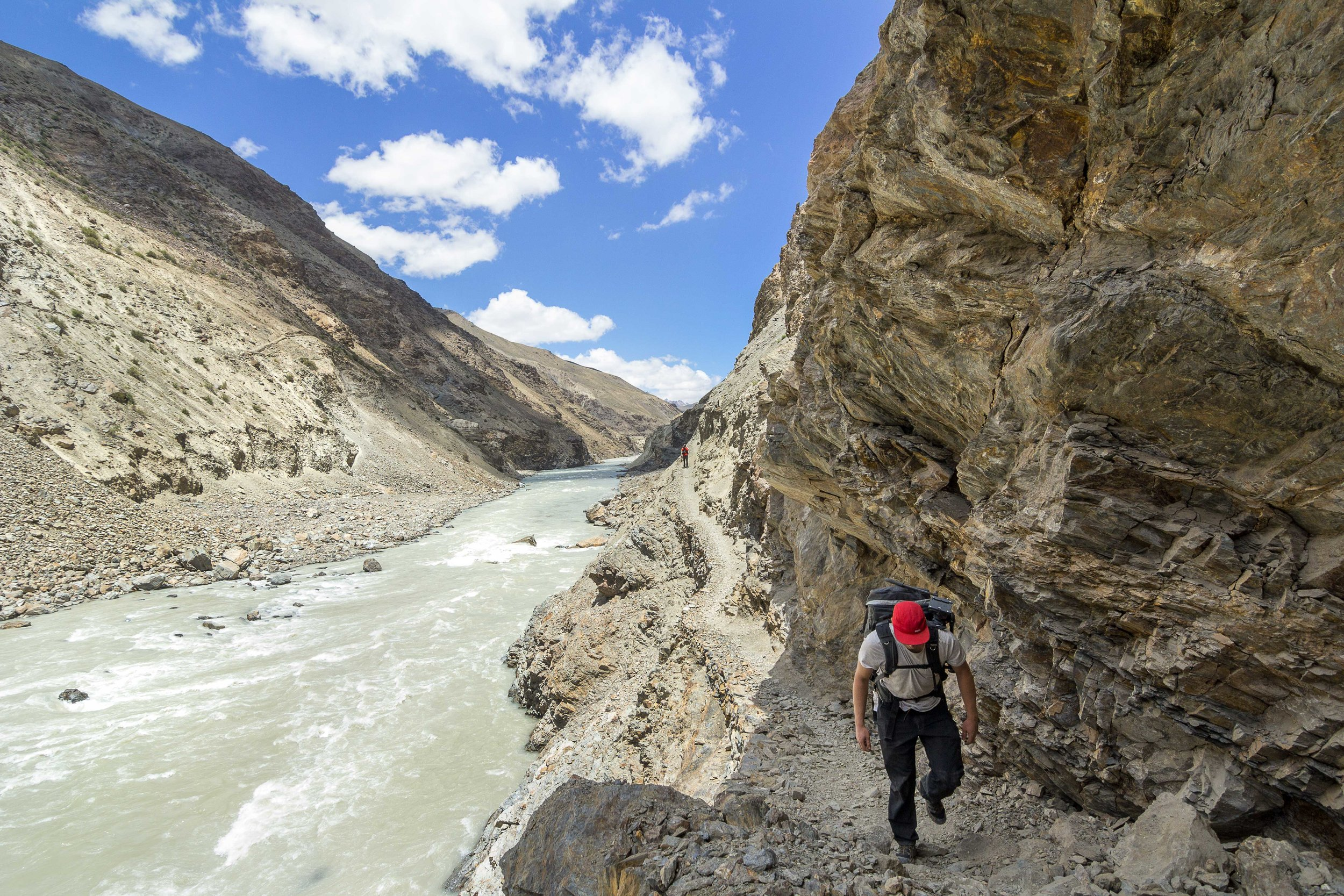 Our self supported expedition took us to winding narrow ridges next to fast flowing rivers. Most of the trail was either broken or submerged by the floods that had hit the region in 2010.