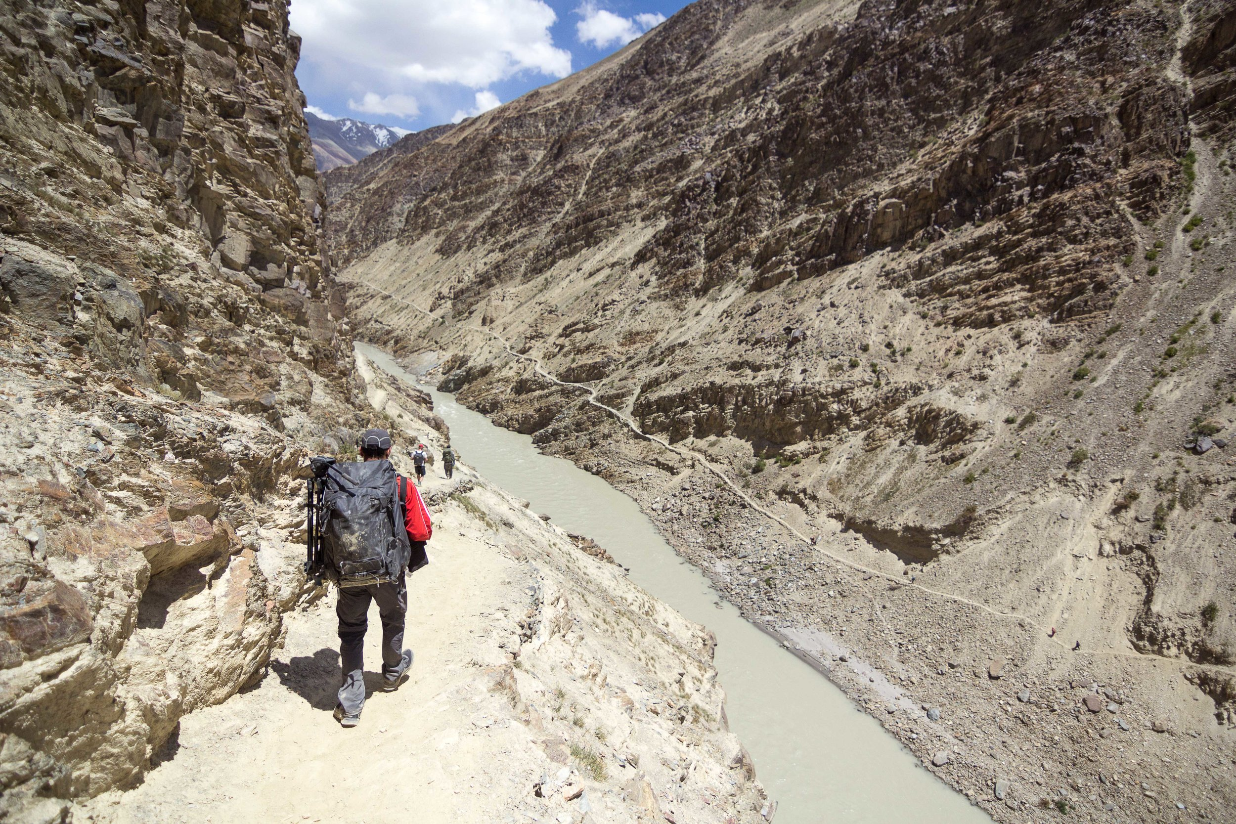 Navigating narrow ridges along the Zanskar river in Padum.
