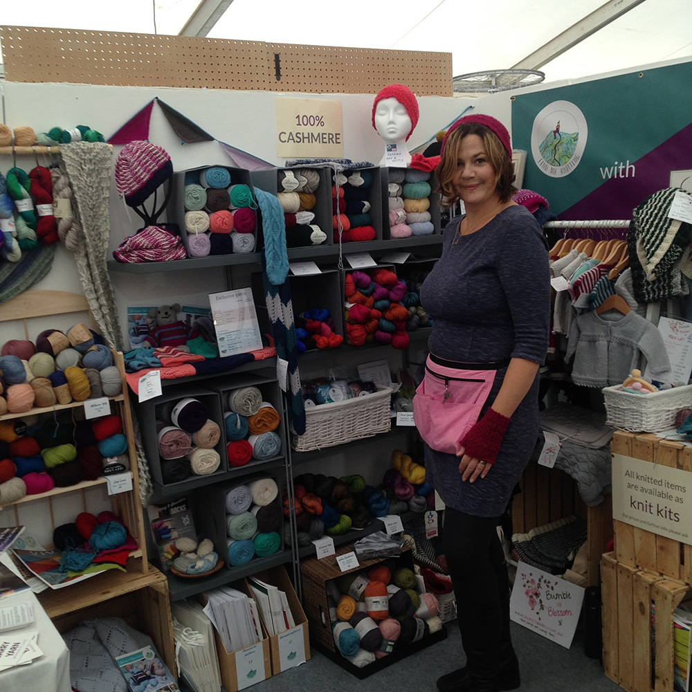 Abby wearing all the samples - it was cold at The Handmade Fair 2017