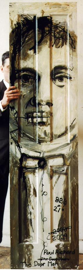 """Doorman, Oil on Door, 82.25""""x 21"""", 2009"""