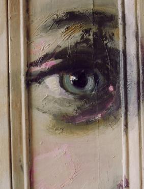 """Untitled (Door), Oil on Door, 89.5""""x 34.5"""""""