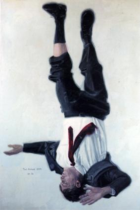 """Fallen Man II, Oil on Canvas, 64""""x 57"""", 2006"""