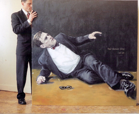 "Fallen Man with Specs, Oil on Canvas, 50""x 70"", 2006"