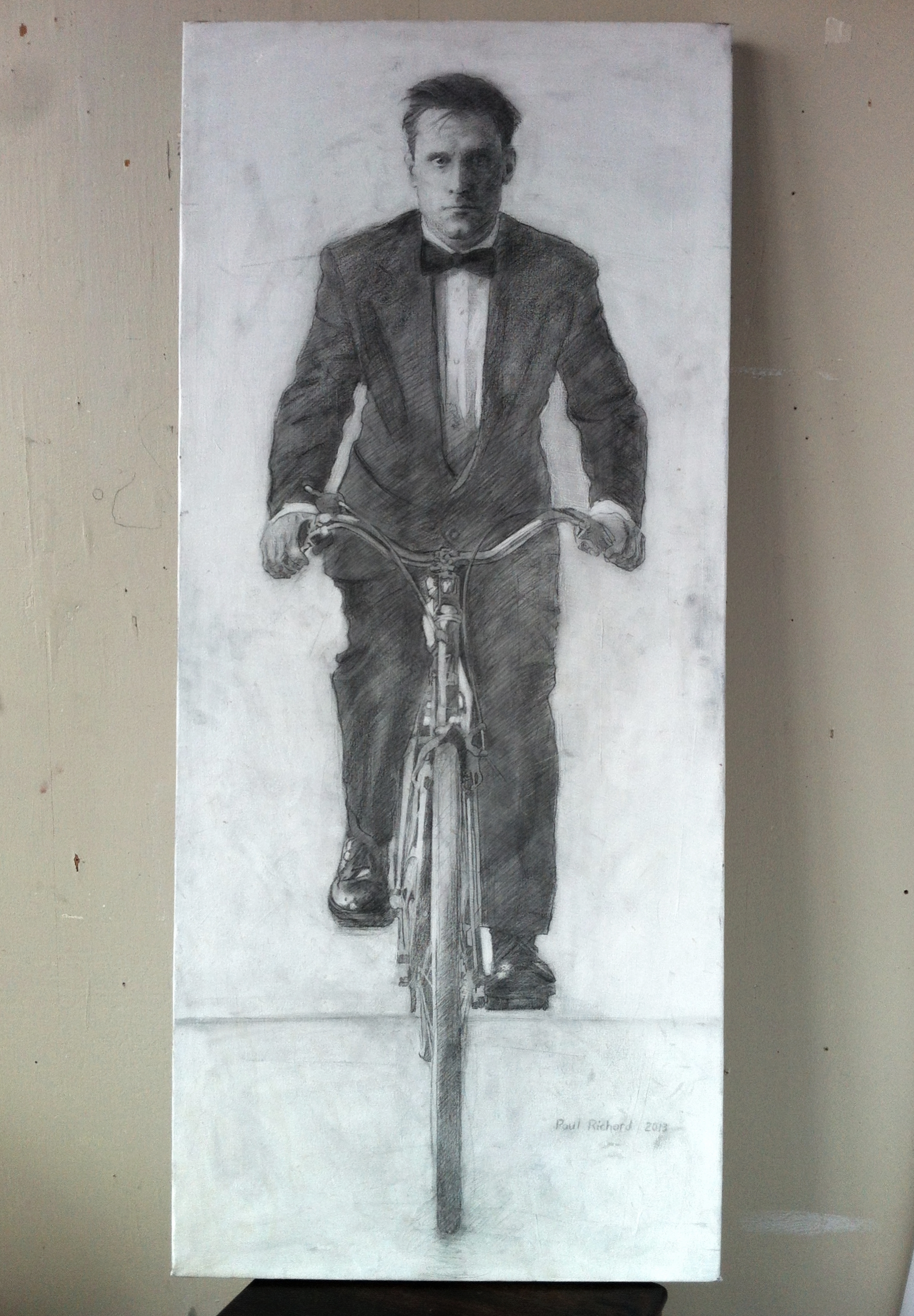 Bicycle Man, Pencil & Mixed Media on Canvas