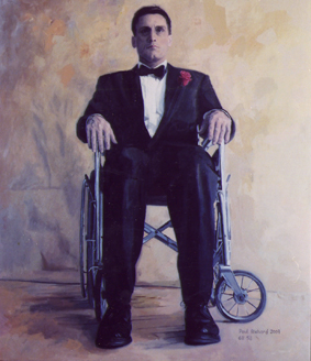 "Wheelchair Man, Oil on Canvas, 68""x 58"", 2009"