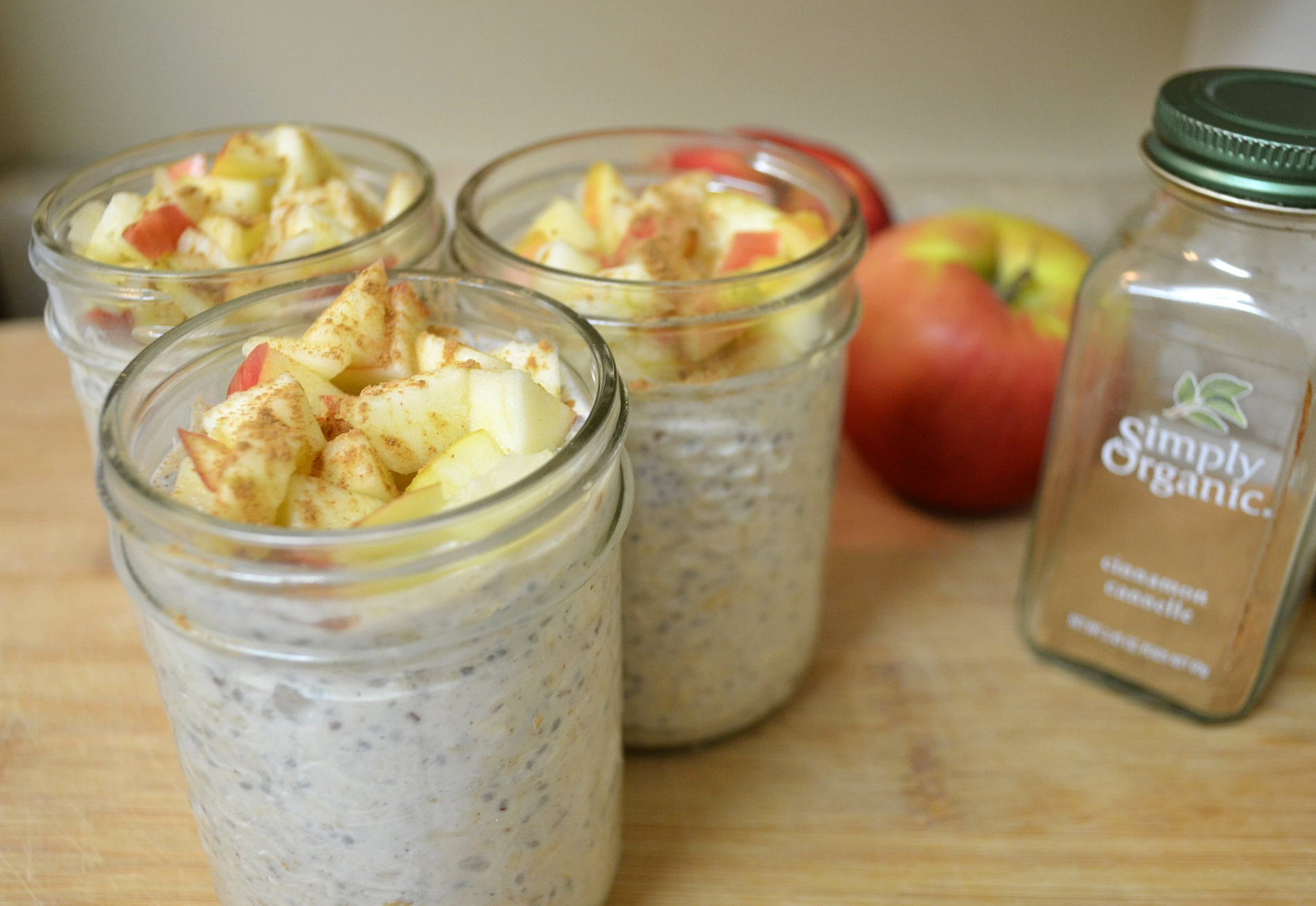Apple spiced over night oats.