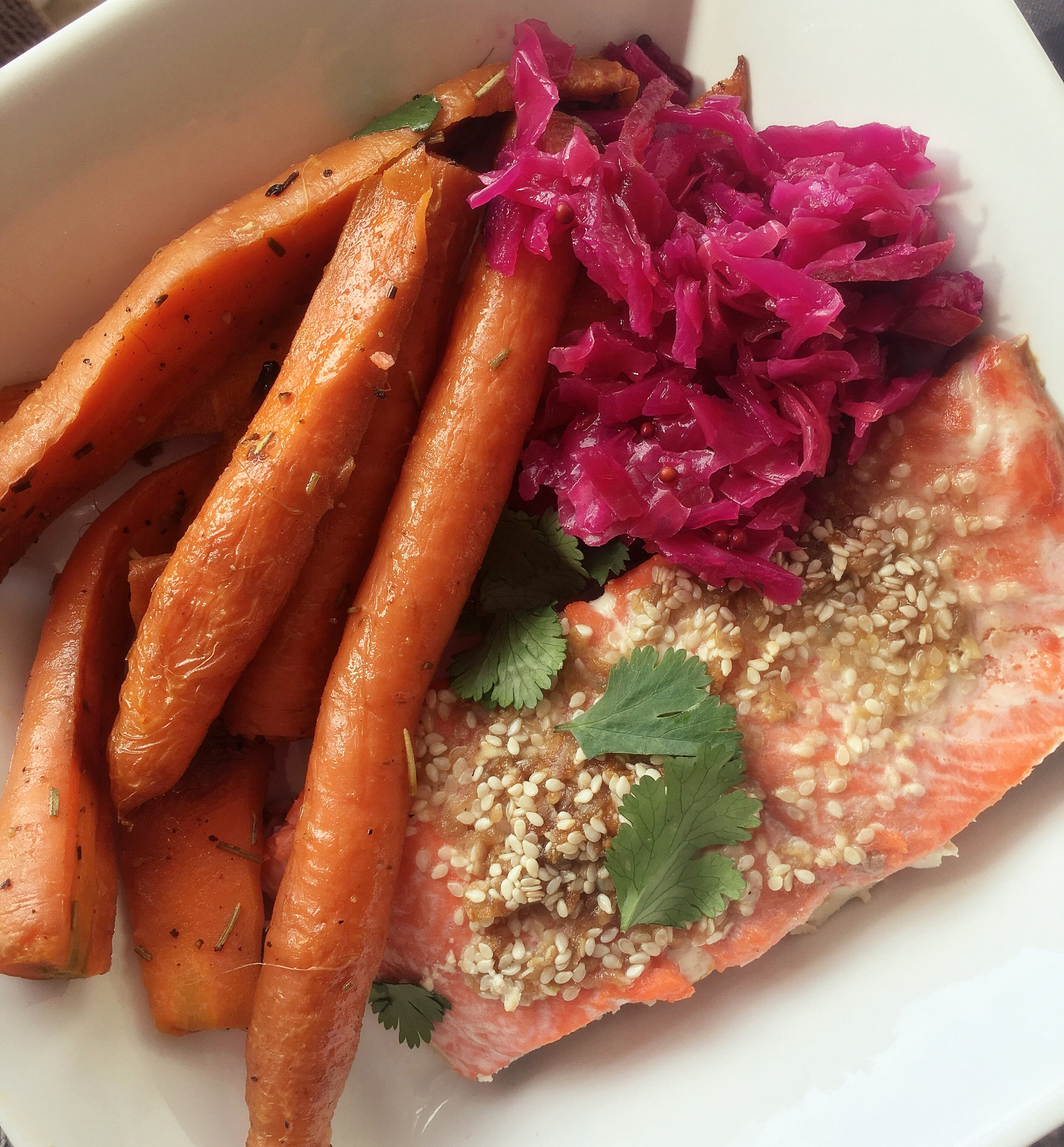 Tip: add a little bit of saurkraught along with dinner for digestive support and probiotics (new beneficial bacteria), include fibre rich veggies (prebiotic fibre to feed/ strengthen our good bacteria), choose ethical and antibiotic free protein sources