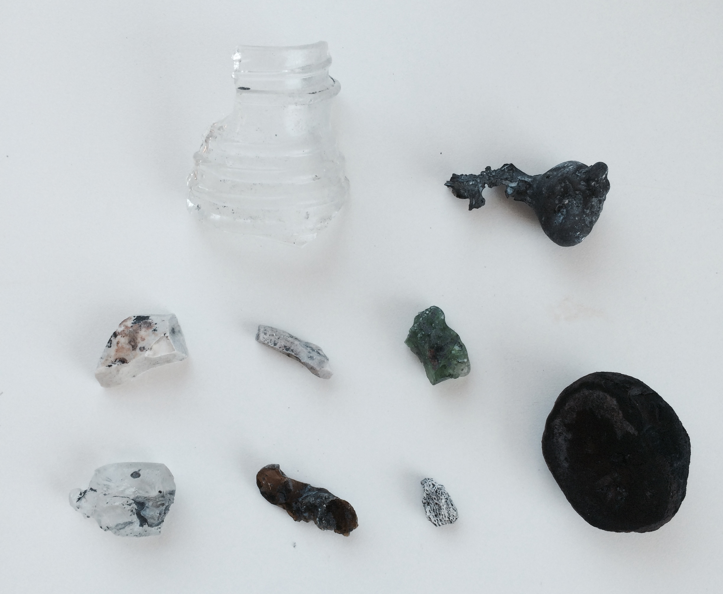 Above: objects collected from ash
