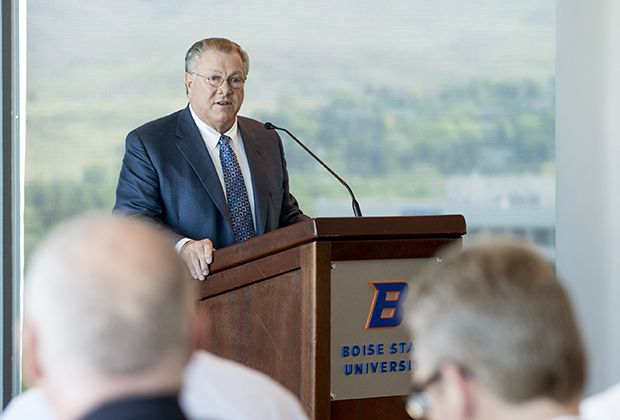 Bob Miller appears at the news conference announcing the rebranding of Bronco Stadium with the Albertsons name. Photo courtesy Boise State.