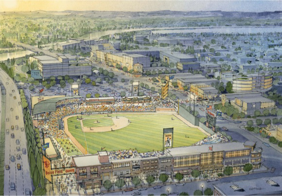 """2011 rendering of """"Boise Field"""" concept on Main St. in Boise's west downtown."""