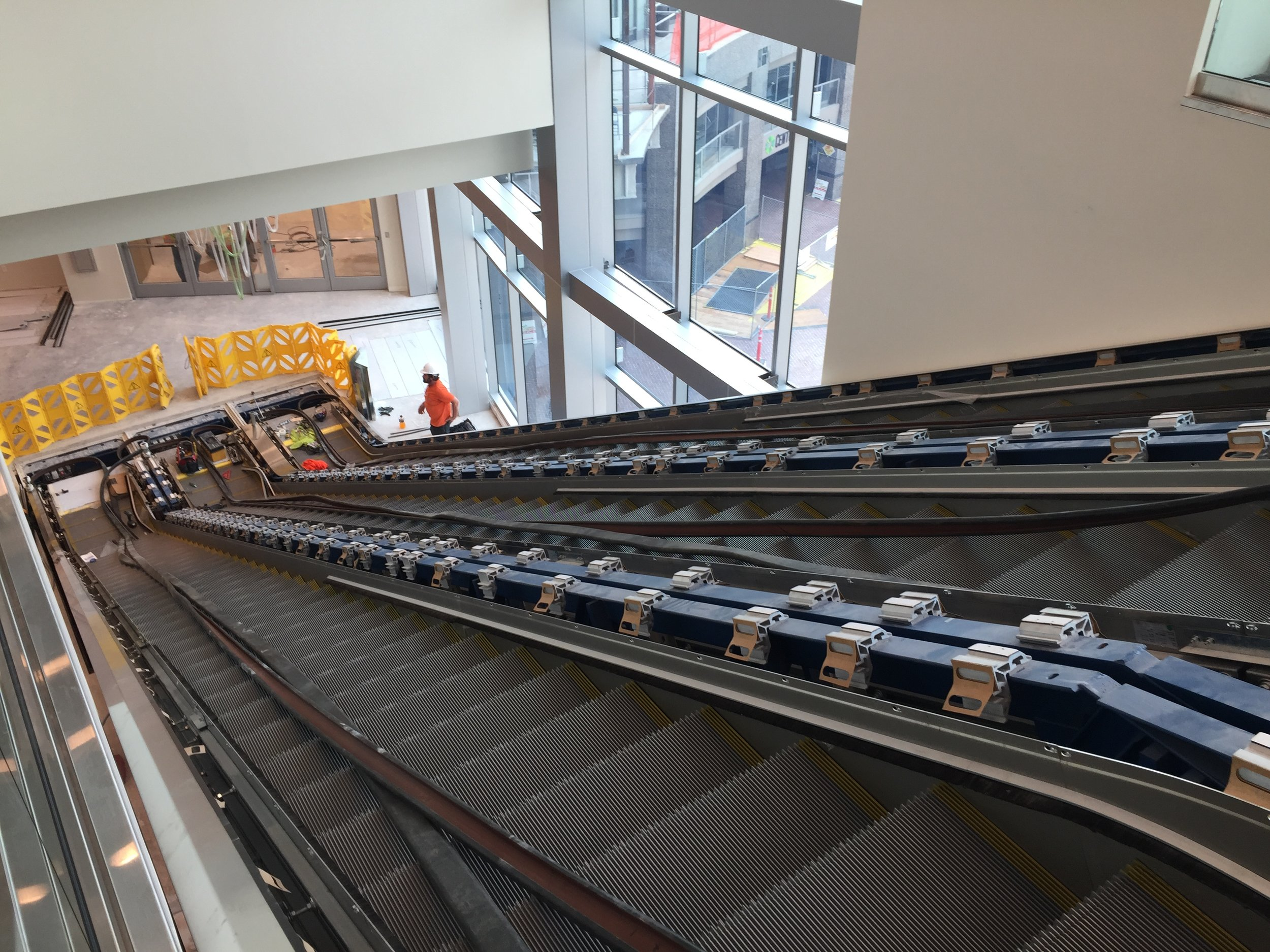 Escalators provide access to the 2nd floor, where a future skybridge will connect to the existing Boise Centre facility on the west side of the Grove. A kitchen space is on the 3rd floor