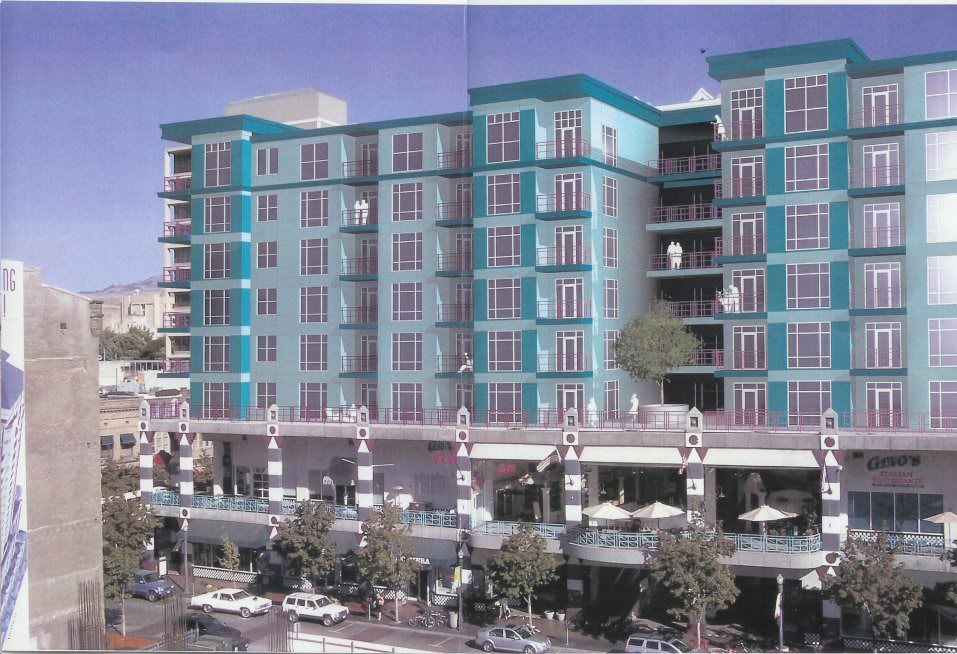 2007 rendering of apartments atop the Capitol Terrace retail building. The project withered away along with the economy.