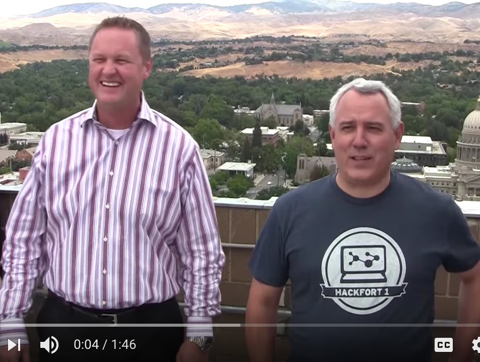 Gardner Co. COO Tommy Ahlquist & Boise Mayor Dave Bieter prepare to take the ALS Ice Bucket Challenge in 2014. Photo: City of Boise  via YouTube