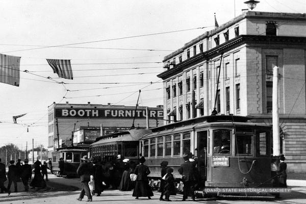 Idaho State Historical Society image of a historic trolley in Downtown Boise near the Borah Post Office. The system was shut down in 1928 as cars made their advance across America.