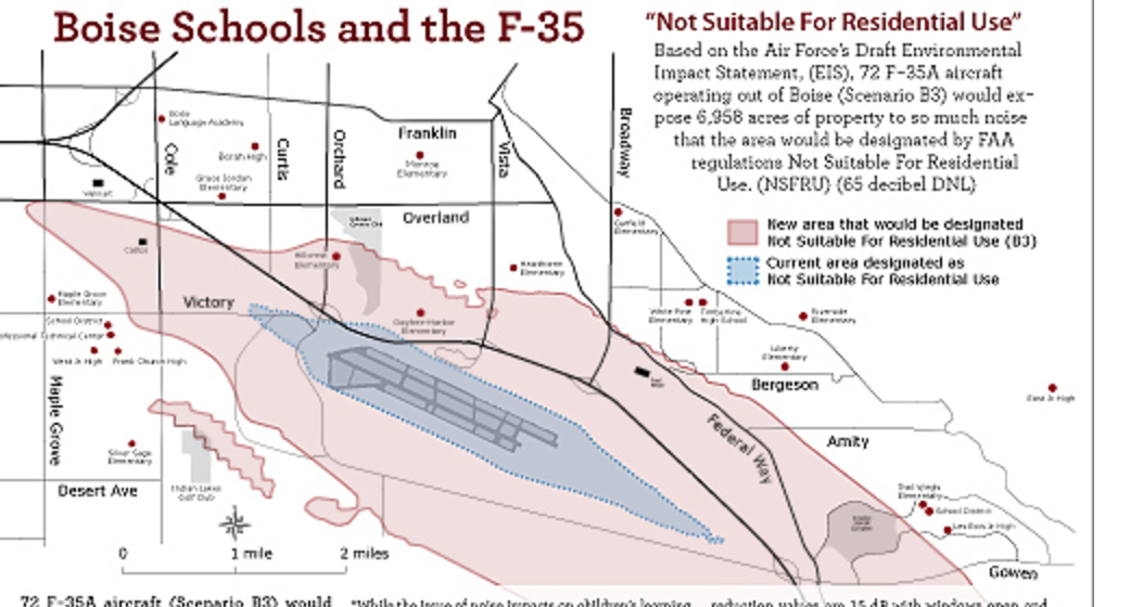 "2012 EIS map. Blue is current ""not suitable for residential use"" area, red was 2012 projection based upon 72 jets."