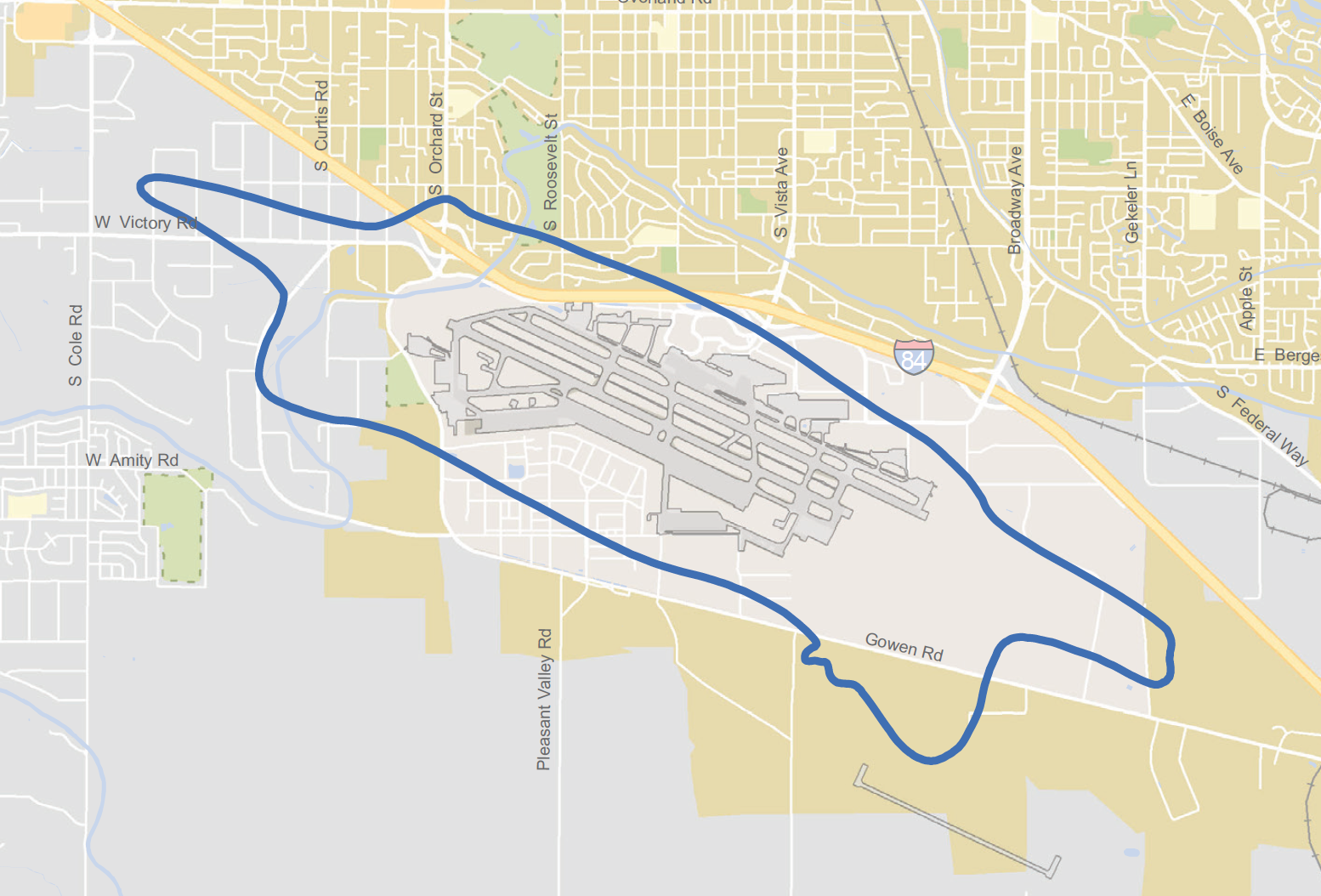 "First on BoiseDev.com: Updated 2016 sound contour map - projection for 2020 with the F-35 program at GTowen. The blue lined-area represents the ""not suitable for residential use"" area."