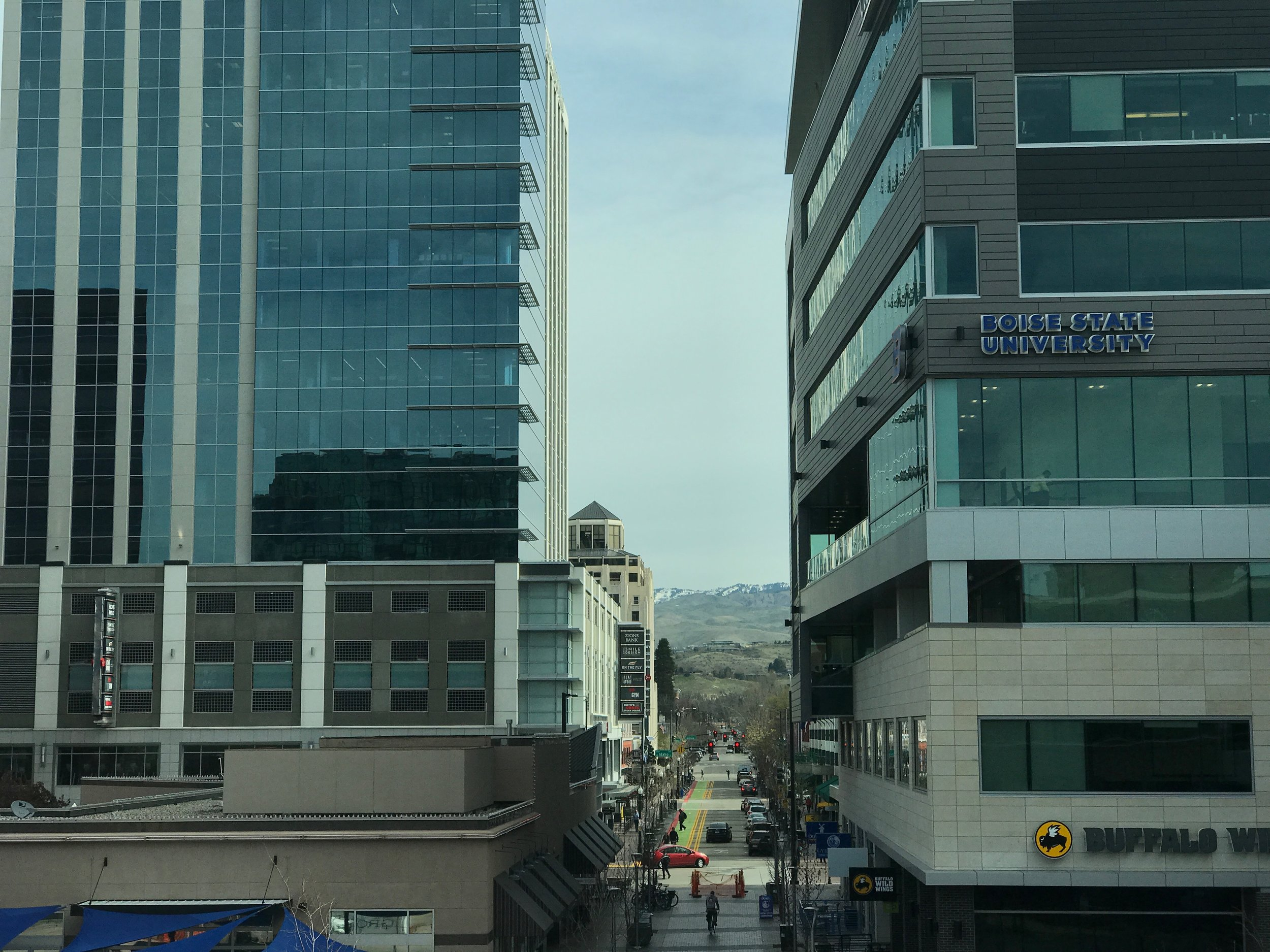View up 8th Street from concourse