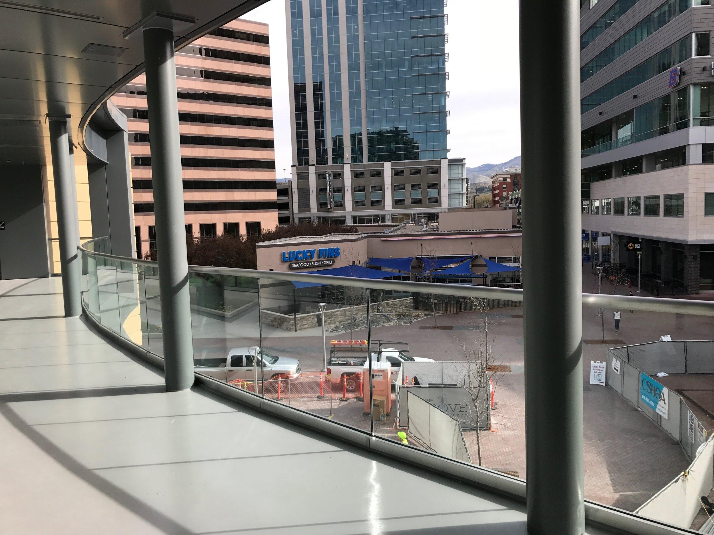 Outdoor area overlooking Grove plaza adjacent to original Boise Center building