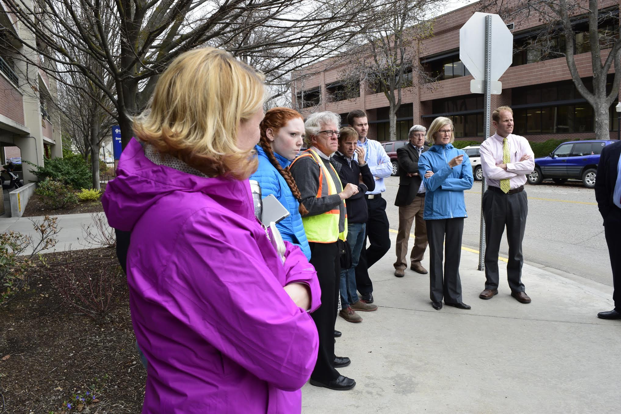 Stakeholders tour the Bannock St. plaza. Photo courtesy St. Luke's Health System