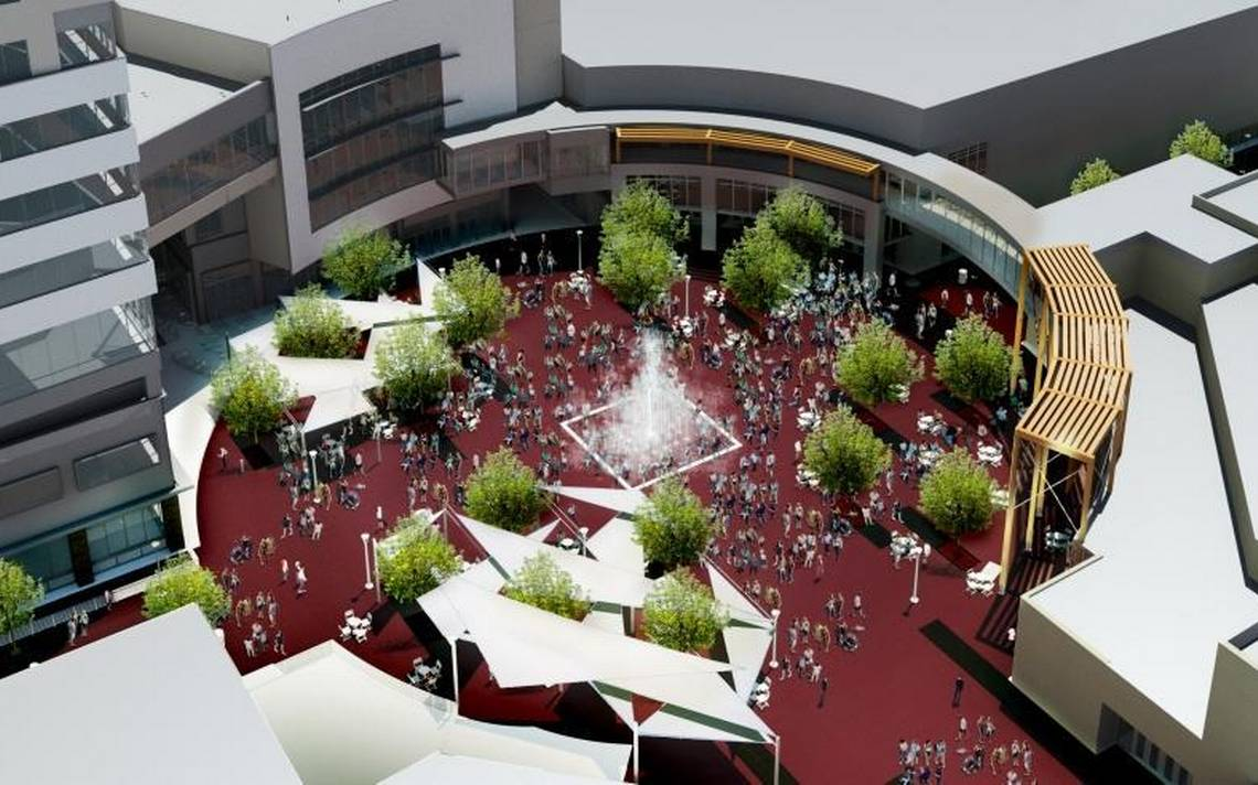 An initial rendering showed large sails around the perimeter of the Grove Plaza to provide shade. The sails were not installed for engineering reasons.