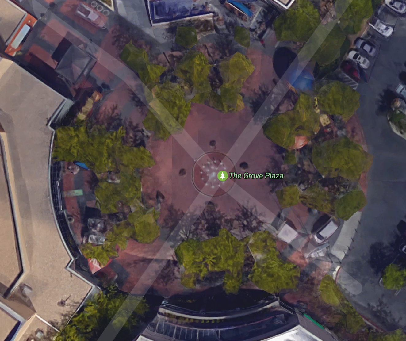 Google Earth shows the many mature trees that were removed for a Grove Plaza revamp