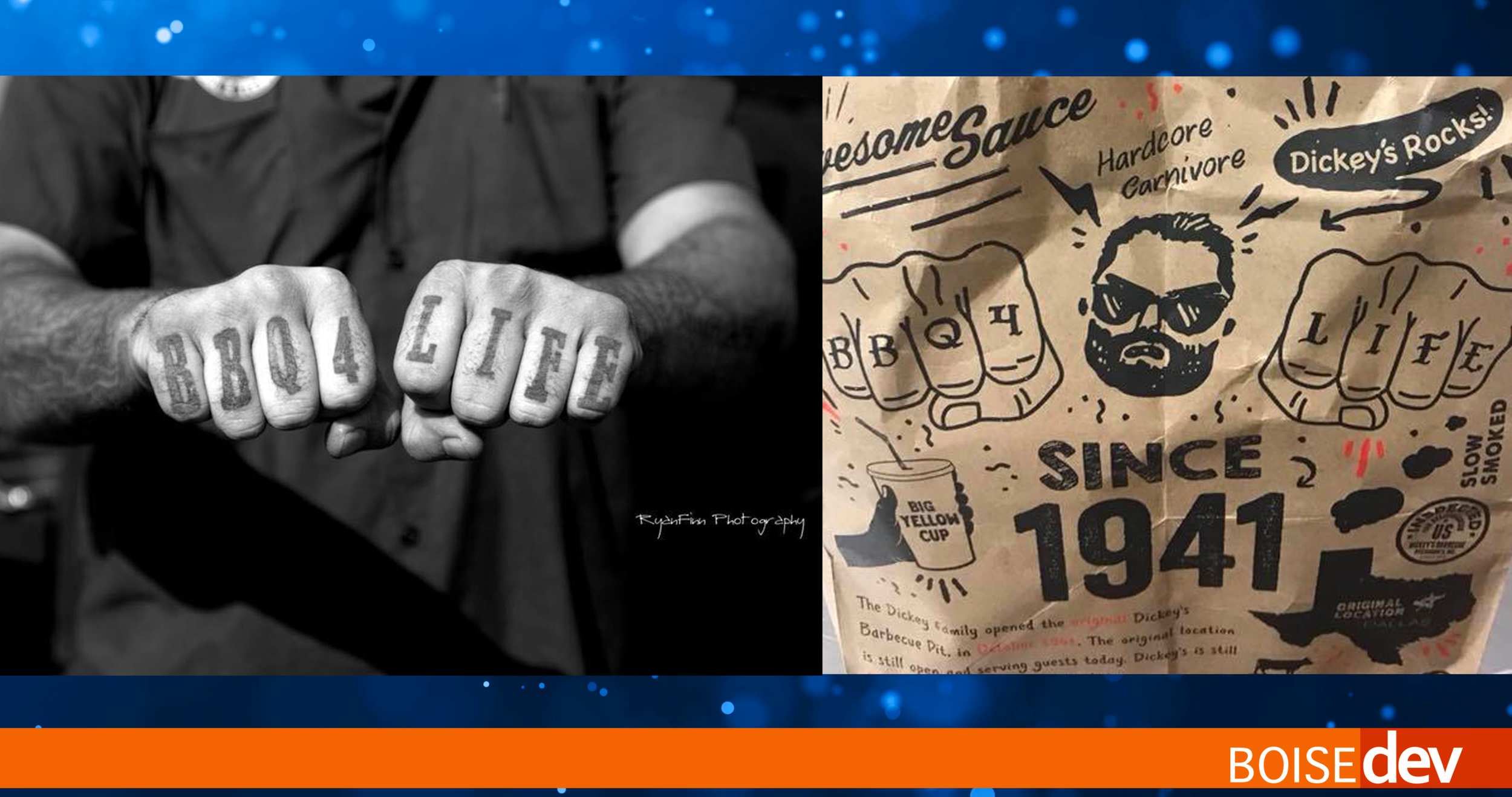 Brad Taylor's tattoo'ed fists, left and the Dickey's BBQ pit bag right have a remarkable similarity. Photos: Ryan Finn Photography and courtesy Brad Taylor.