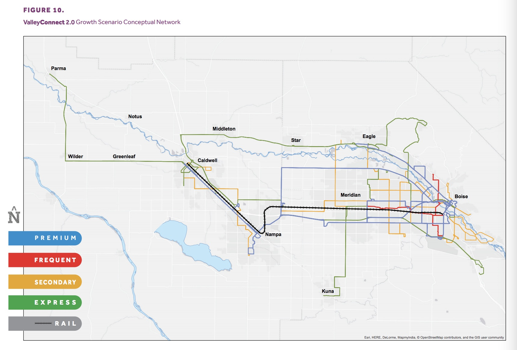 Map shows proposed Growth network. Via Valley Regional Transit. Click to enlarge.