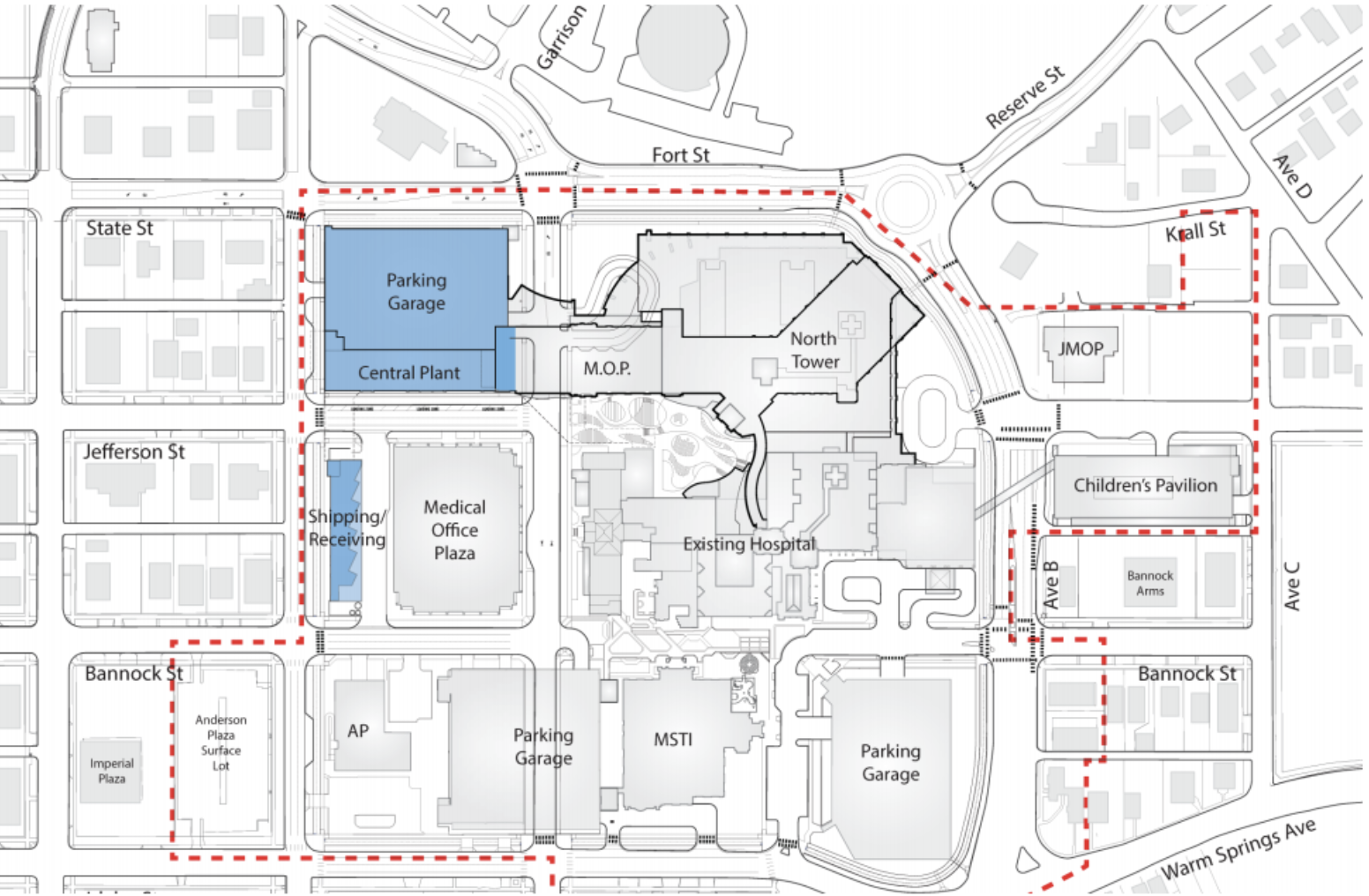 Site plan. New buildings in blue. Courtesy St. Luke's Health System.