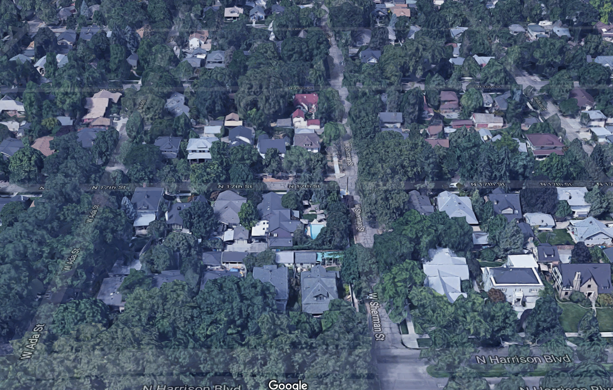A Google Earth view of the North End