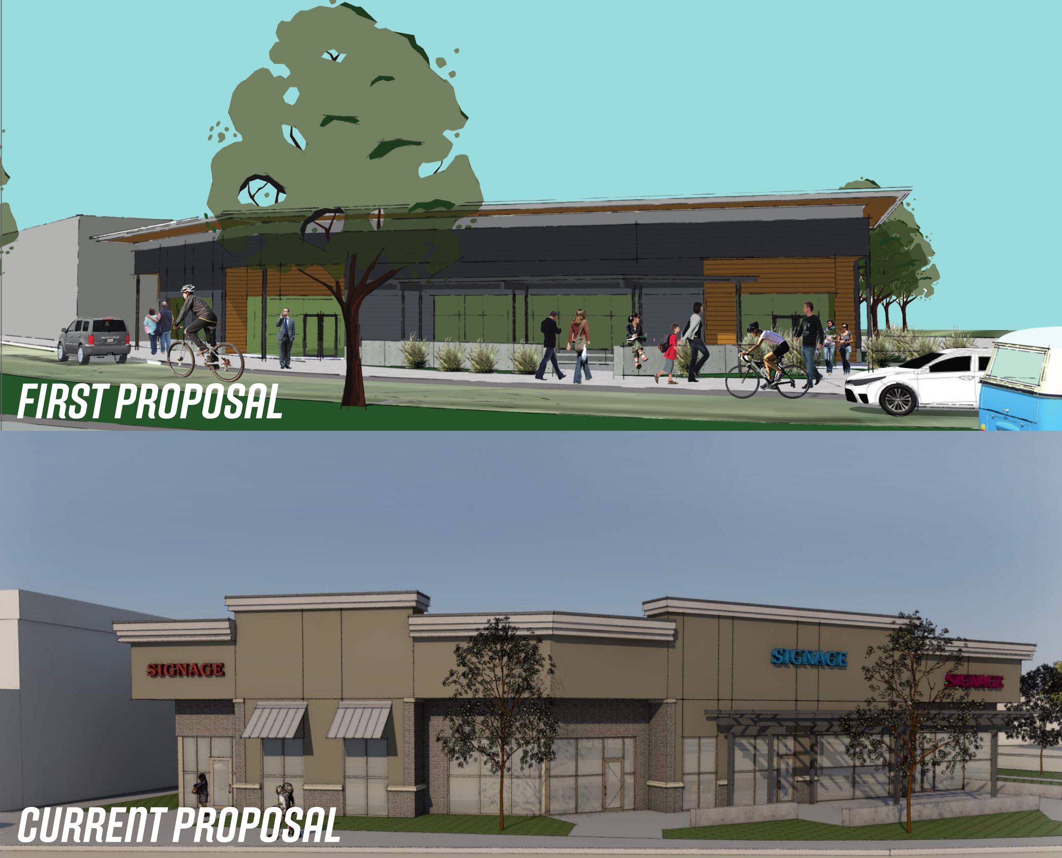 Public filings show renderings of proposed Bown Crussing restaurant and retail space