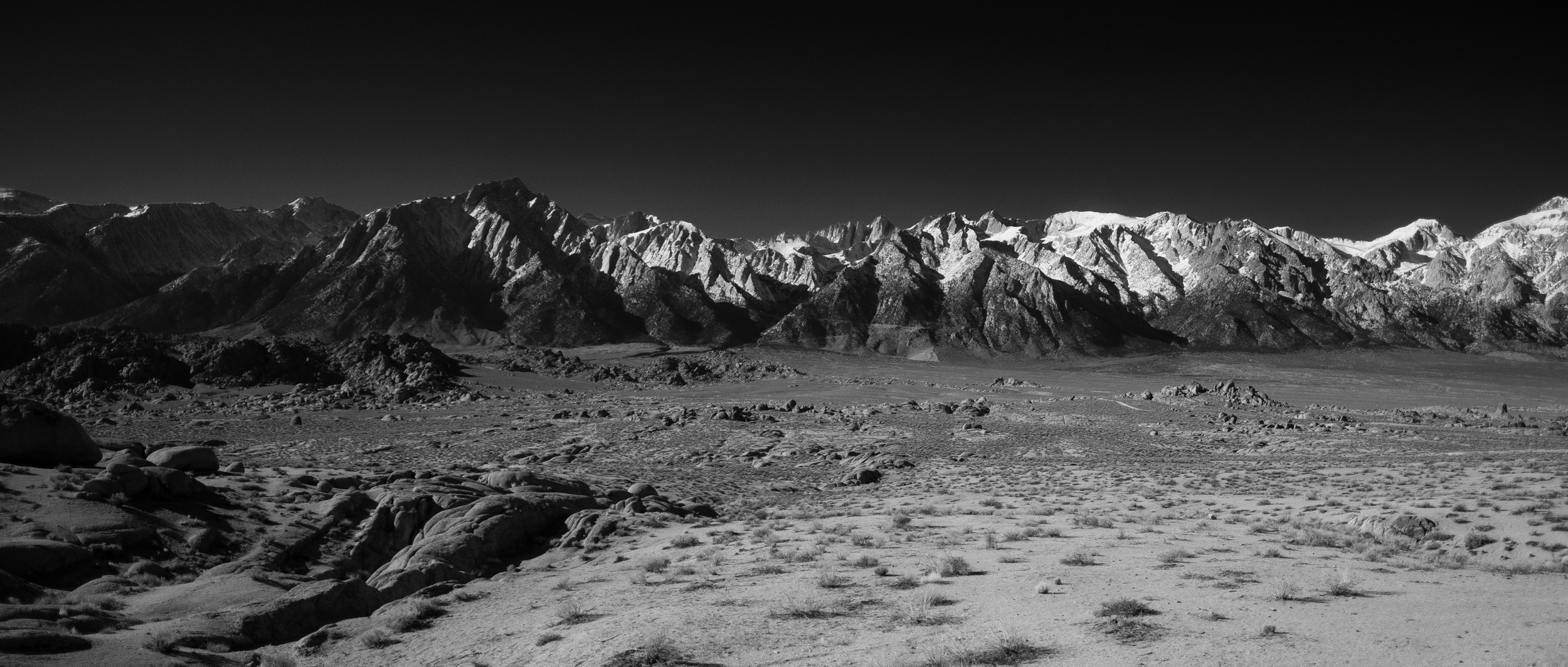 Eastern Sierras in black and white